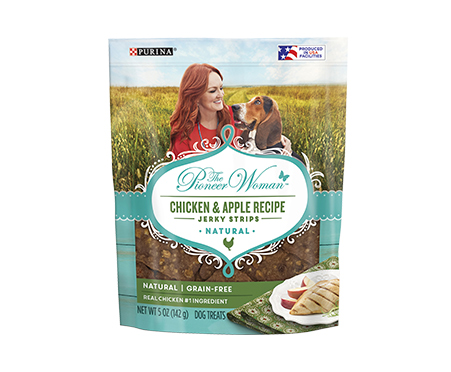 NEW! The Pioneer Woman Chicken & Apple Recipe Jerky Strips Adult Dog Treats