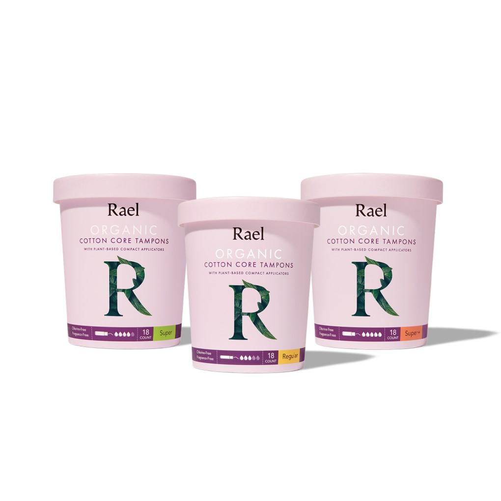 Rael Organic Cotton Tampons with Compact Applicators (Regular, Super, & Super Plus)