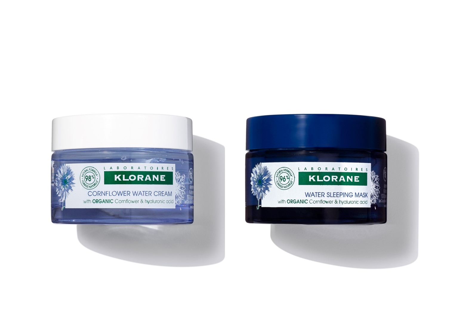 Klorane Hydrating Water Cream and Water Sleeping Mask with Cornflower
