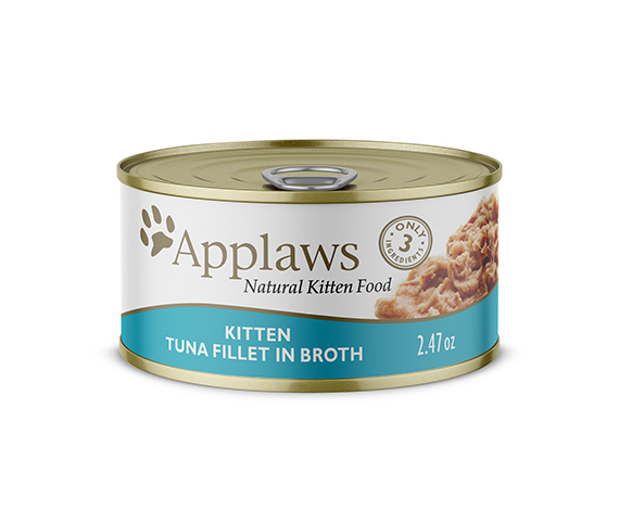 Applaws Natural Wet Kitten Food Tuna Fillet in Broth 2.47oz Can