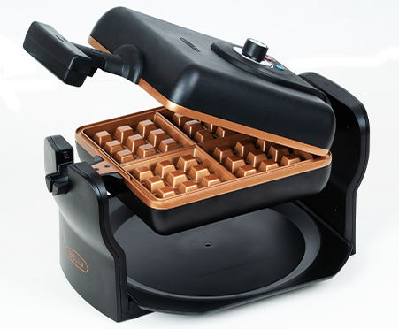 BELLA 4 Slice Rotating Belgian Waffle Maker, Black