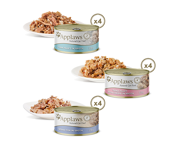 Applaws Natural Wet Cat Food Fish Selection Multipack in Broth 12 x 5.5oz Cans