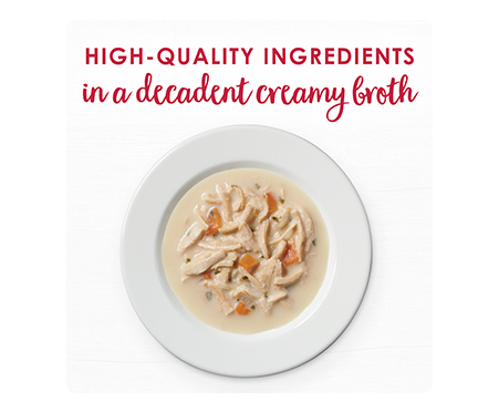 Fancy Feast® Broths Senior with White Meat & Vegetables in a Decadent Creamy Broth