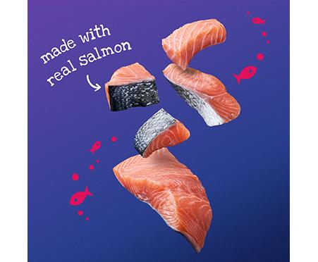 Friskies® Warm'D & Serv'D™ Grill'D Bites with Salmon in Gravy