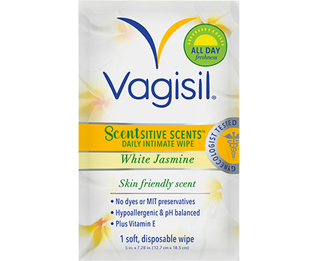 VAGISIL SCENTSITIVE SCENTS™ WHITE JASMINE DAILY INTIMATE WASH AND WIPES